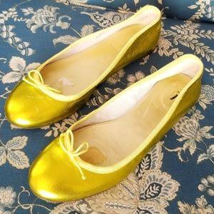 J. Crew Marjorie Metallic Leather Ballet Flats 8